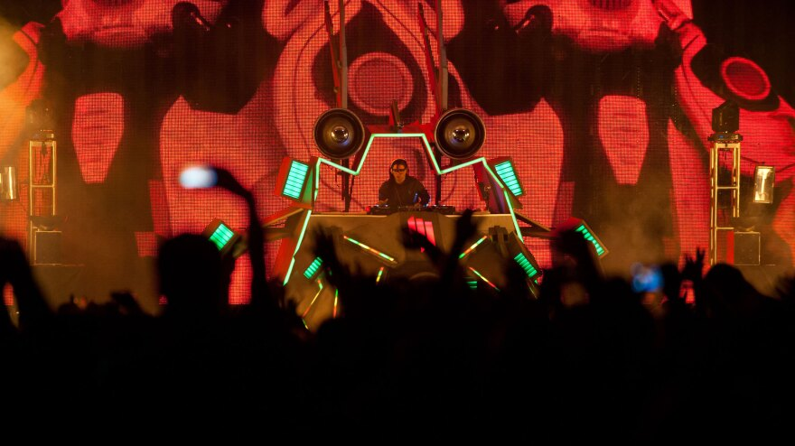 Skrillex performs at the Virgin Mobile FreeFest in Columbia, Md. on October 6.