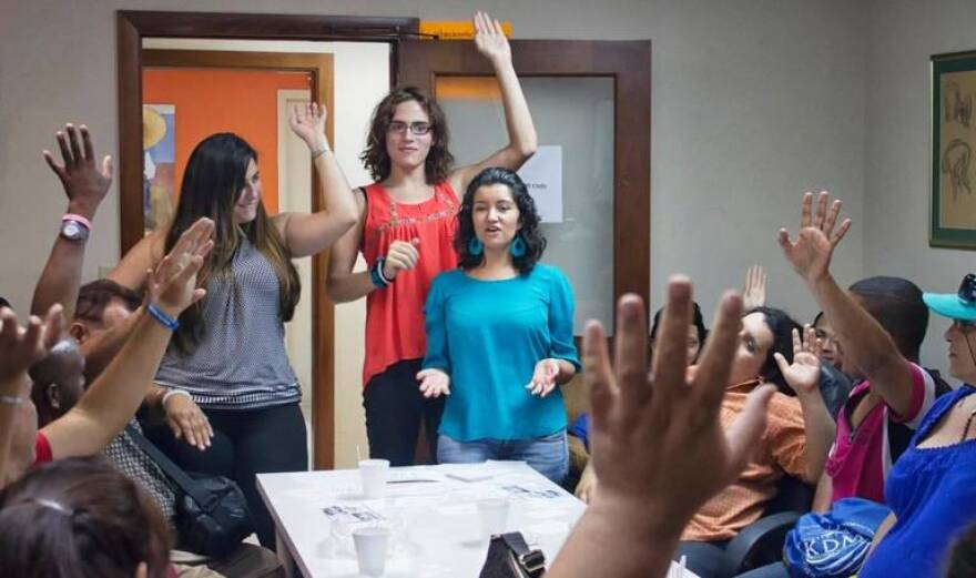 TransLatina Project, a South Florida advocacy group for Latina transgender women, meets in 2015. A new study led by Florida International University researchers will focus on educating transgender Latino people about the importance of cancer screenings.