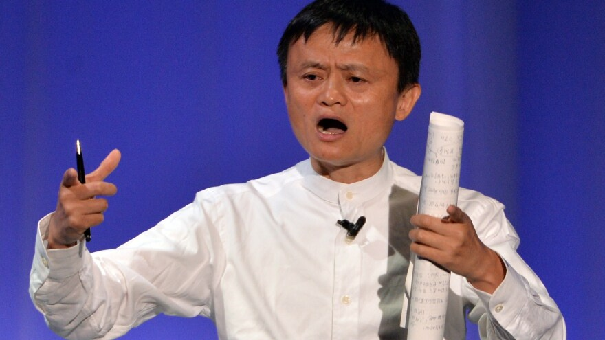Alibaba Group chairman Jack Ma delivers a speech during the Softbank World 2014 annual forum in Tokyo in July. Alibaba is preparing for a multi-billion-dollar stock offer on the New York Stock Exchange.