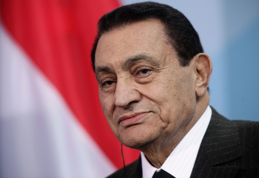 Hosni Mubarak speaks to the media during a trip to Berlin in 2010.