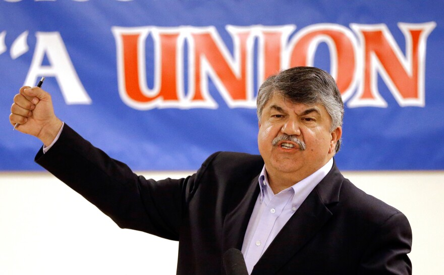 AFL-CIO President Richard Trumka speaks against the Trans-Pacific Partnership trade pact in a May 18 speech in Portland, Ore.