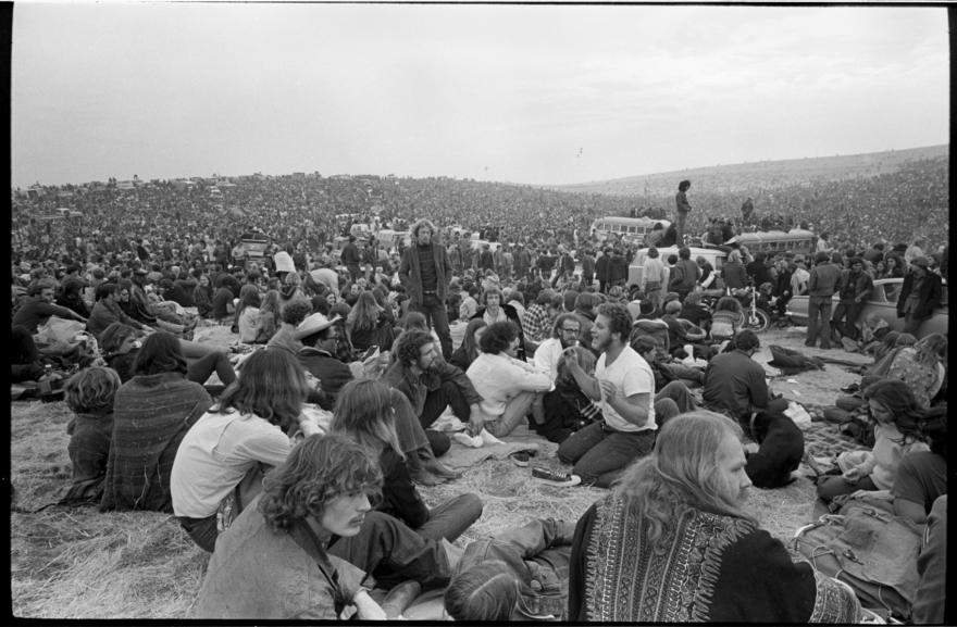 A crowd estimated at 300,000 gathered for the free concert at the Altamont Speedway on Dec. 6, 1969. (Courtesy of Beth Bagby)