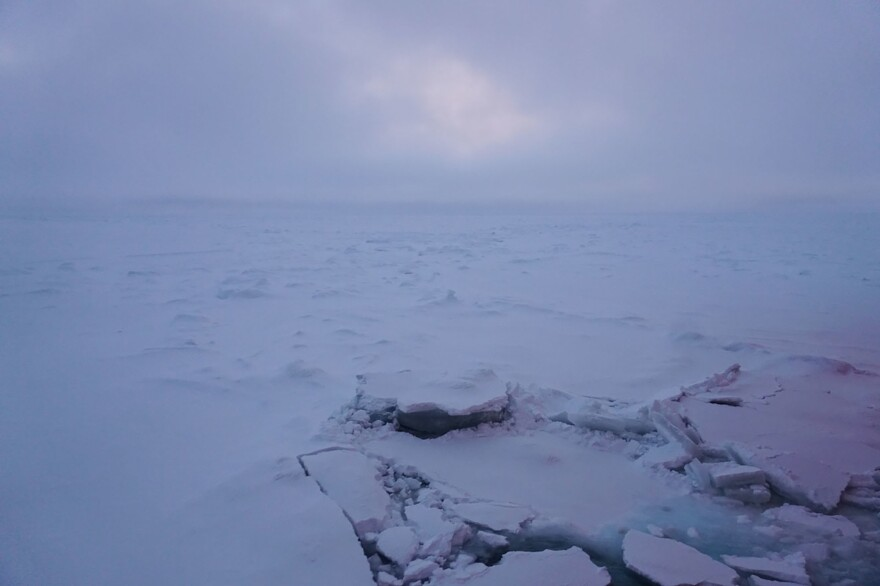 Heavy ice cover on the central Arctic Ocean at dusk on Sept. 28.