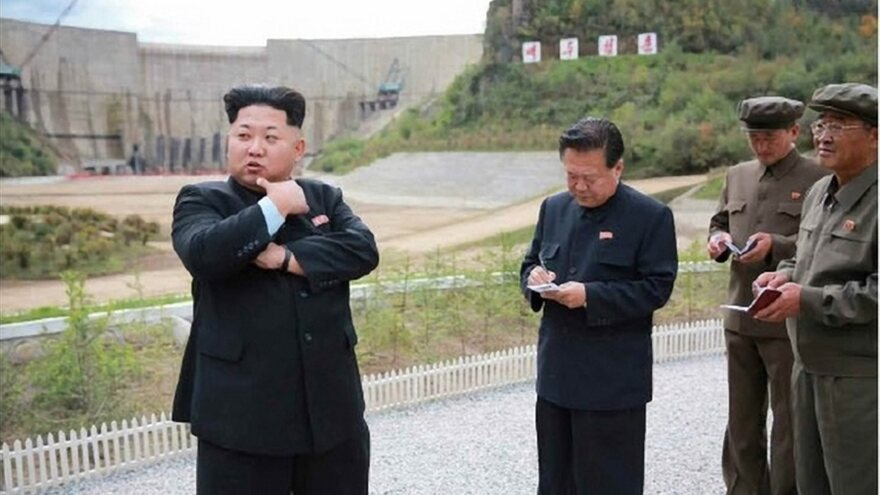 North Korean leader Kim Jong Un, seen here in an undated picture released by the <em>Rodong Sinmun </em>newspaper, has said his country will never give up its nuclear weapons. In the photo, Kim was visiting a hydroelectric power plant.
