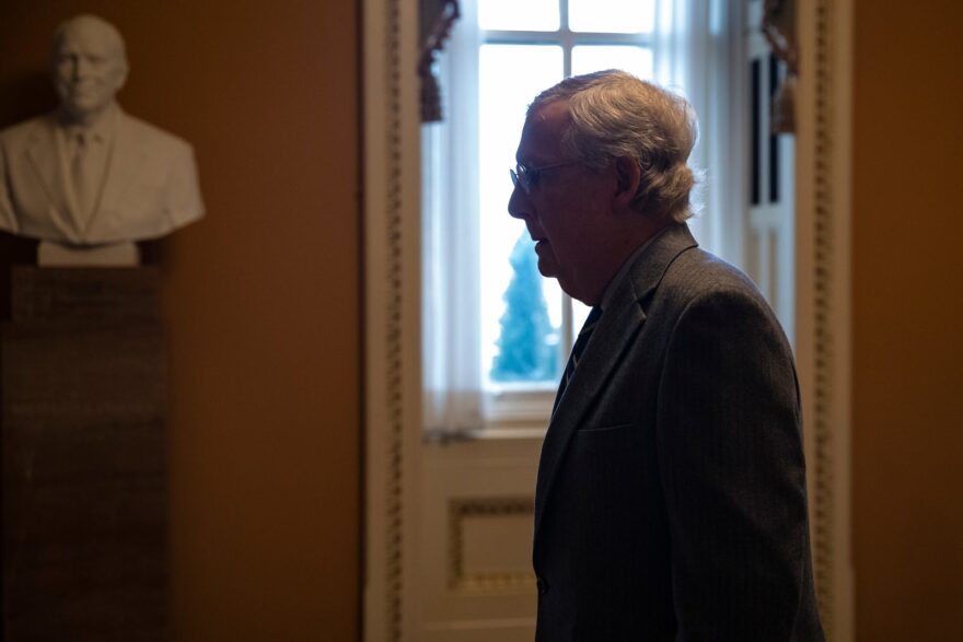 Senate Majority Leader Mitch McConnell arrives at the U.S. Capitol before the Senate impeachment trial goes into session.