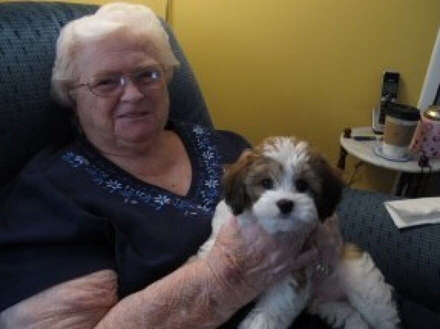 Dorothy Holmes, back home with her new dog, Jack.<em> </em>
