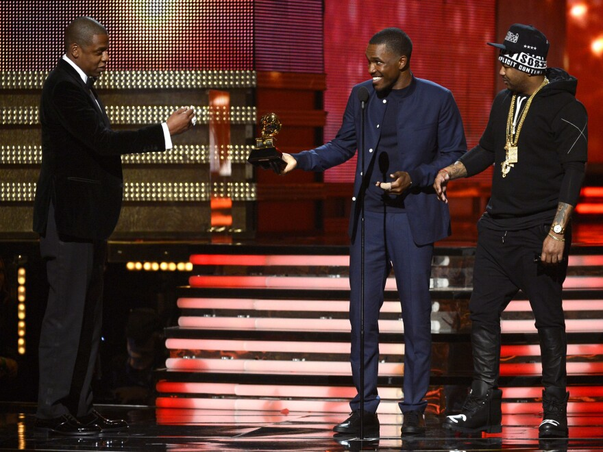 <strong>They definitely got this one right:</strong> Jay-Z, Frank Ocean and The-Dream accept the Grammy for best rap/sung collaboration.