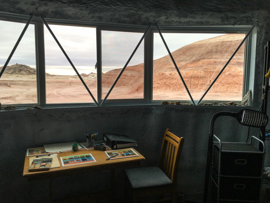 A window in the station's science lab looks out onto Utah's Mars-like desert landscape.