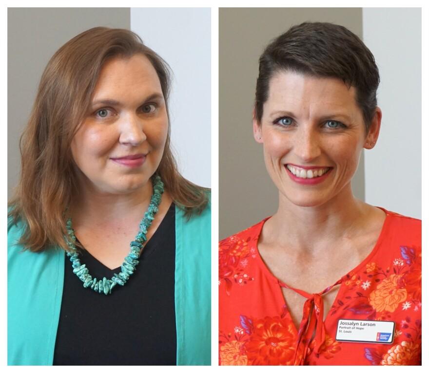 Rachel Webb (at left) and Jossalyn Larson shared their stories on Thursday's talk show.