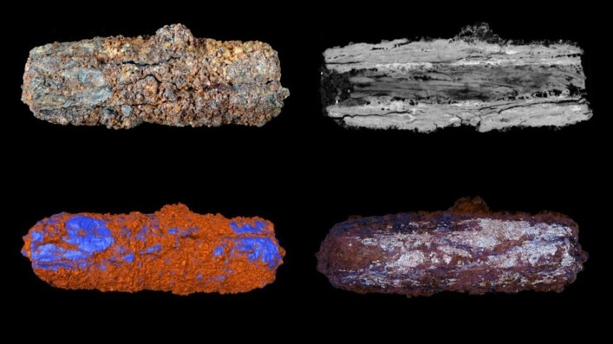 The metal in an Egyptian iron bead dating from around 3,300 BC has been found to have originated from space, according to analysis. Here, the bead is seen in (clockwise from top left) a photograph, a CT cross-section view, a model of nickel oxides, and a model in which blue areas represent the rich presence of nickel inside the bead.