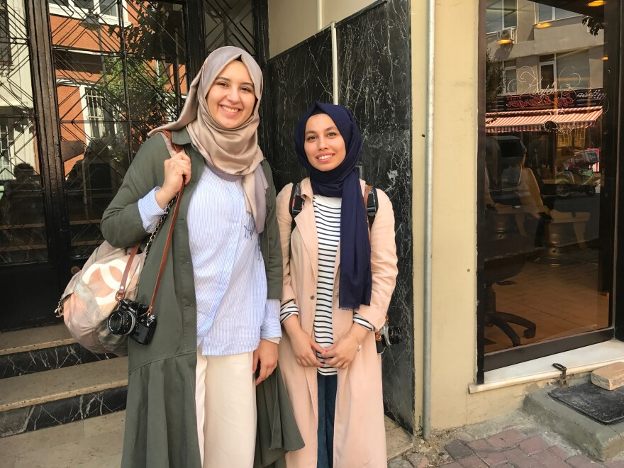 """Zeynep Terzi, left, 23, a medical student in Istanbul, and Betul Vargi, 22, a college student studying English literature, are part of what Turkish President Recep Tayyip Erdoğan calls a new """"pious generation"""" of Turks. They wear headscarves and attend mosque, but they also believe in a separation of religion and state."""