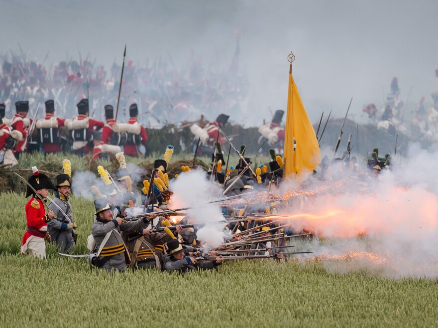 Re-enactors fire weapons during the bicentenary commemoration of the battle of Waterloo in Belgium this weekend.