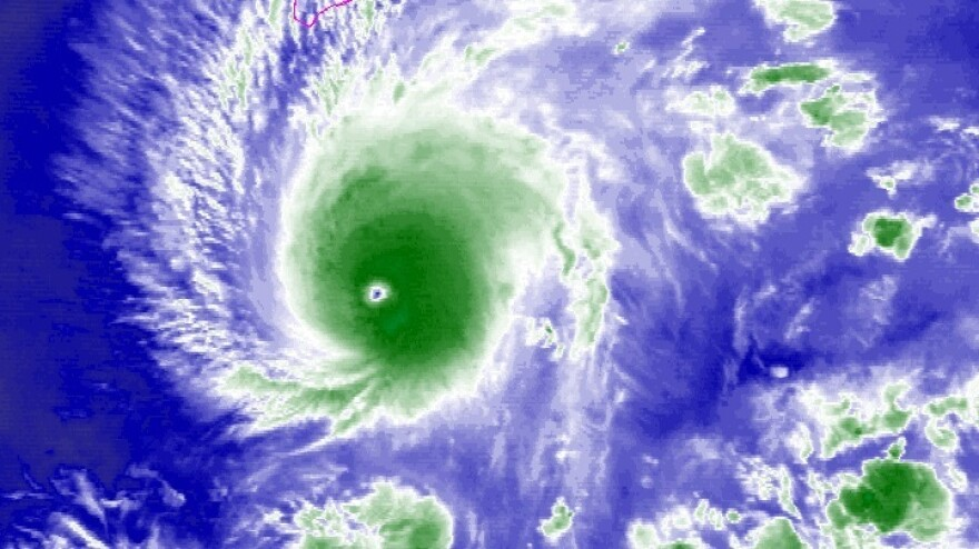 A satellite image shows Hurricane Lane in the Central Pacific Ocean on Wednesday.