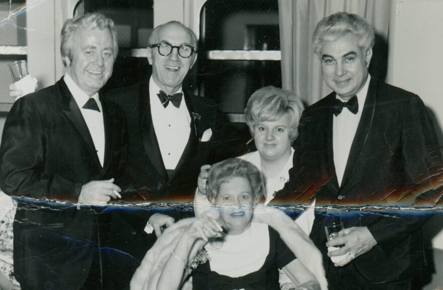 St. Louis socialite Mrs. Erwin Bry sits in front of, from left to right, Buddy Walton, Samie Cohen, Mrs. Bry's nurse Carol and Walton's partner Sam Micatto.