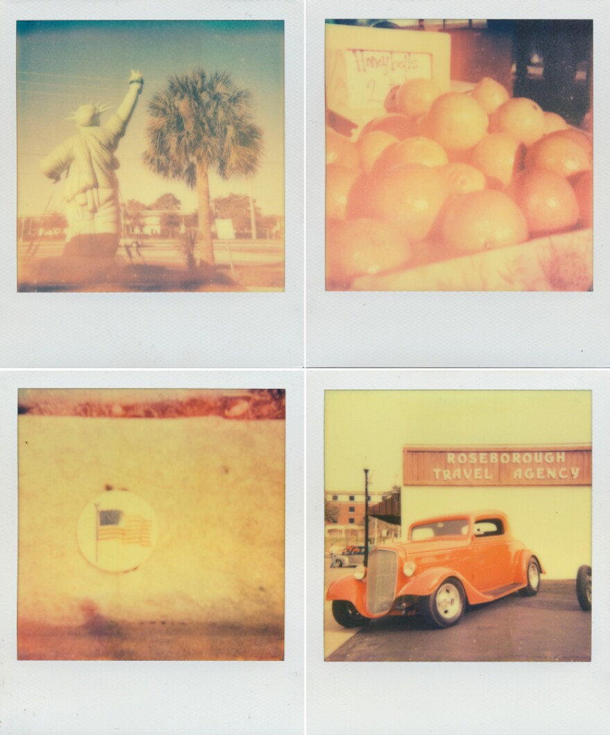 """Clockwise from top left: Statue of Liberty in Kissimmee, Honeybell oranges, an American flag in DeLand, and a classic car show. Shot with <a href=""""http://the-impossible-project.com/"""">Impossible Project</a> film."""