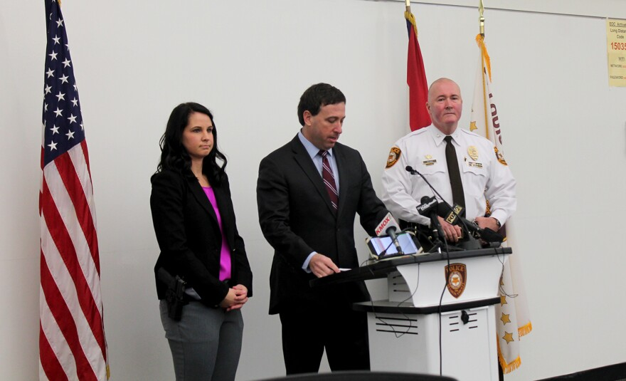 St. Louis County Detective Casey Lambert, Executive Steve Stenger and Police Chief Jon Belmar hold a press conference Thurs. Feb. 18, 2016 to announce the Narcan program.