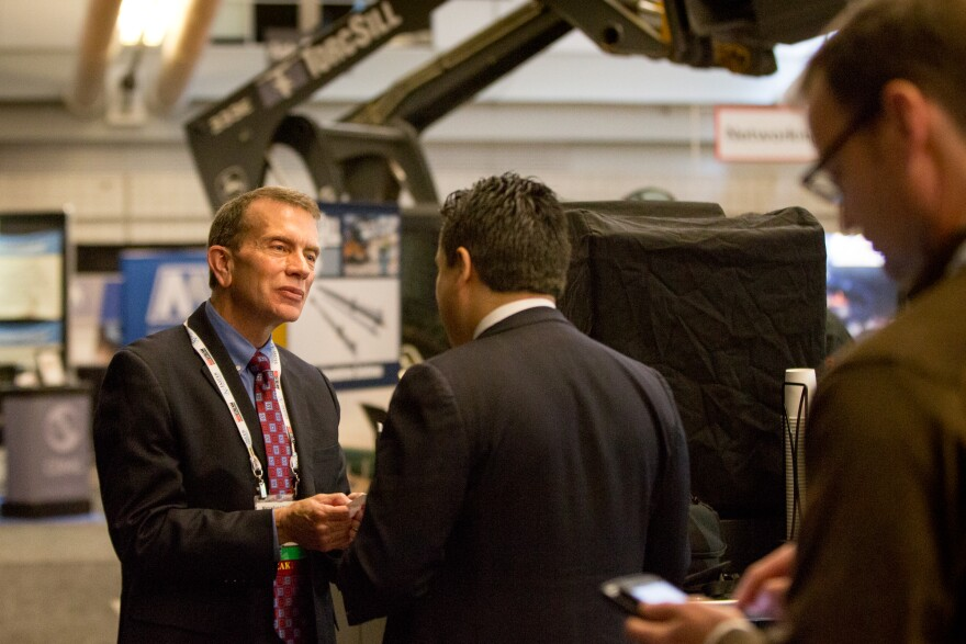 Donald R. Raikes, Senior Vice President – Midstream Operations Gas Infrastructure Group, Dominion Energy talks with attendees at Hart Energy's Marcellus-Utica Midstream Conference and Exhibition in Pittsburgh, Jan. 30 through February 1st, 2018.