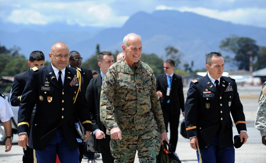 Then-head of the U.S. Southern Command Gen. John Kelly arrives at the Guatemalan air force base in Guatemala City in March 2015.
