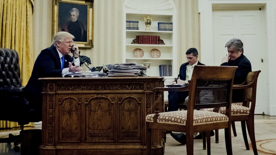 Steve Bannon (right) joins President Trump and national security adviser Michael Flynn in the Oval Office on Saturday during a call with Australian Prime Minister Malcolm Turnbull.