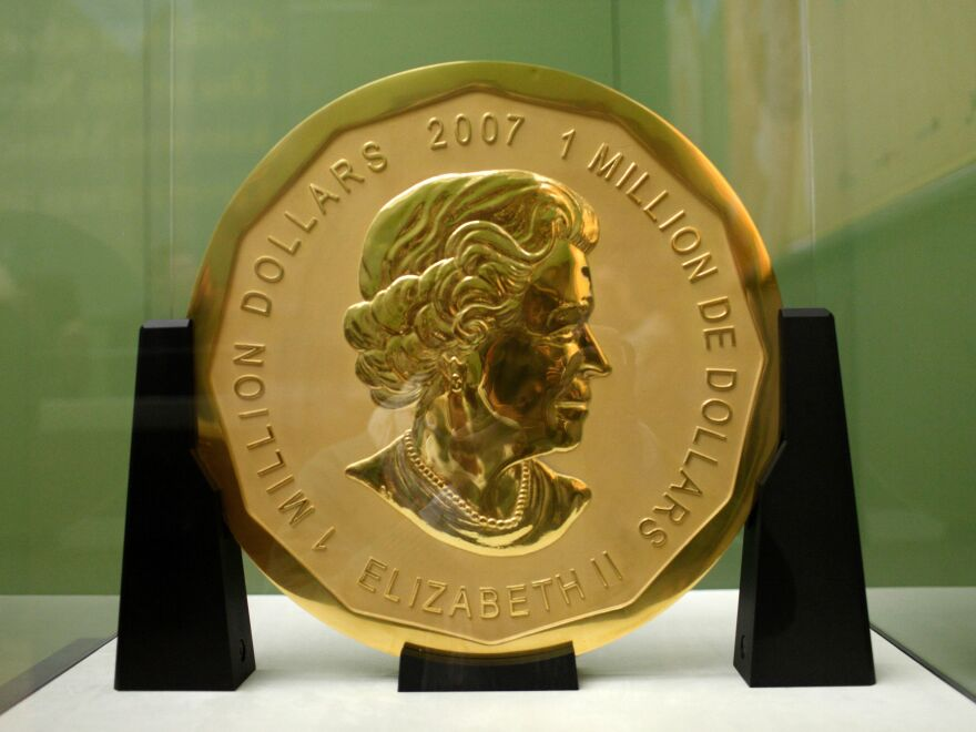 """The """"Big Maple Leaf"""" went on display at Berlin's Bode Museum in 2010. Thieves stole the gold coin with a face value of $1 million and weighing 220 pounds in a surprisingly analogue heist."""