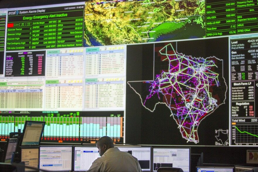 The control room at the Electric Reliability Council of Texas. ERCOT manages the flow of electric power to more than 26 million Texans.