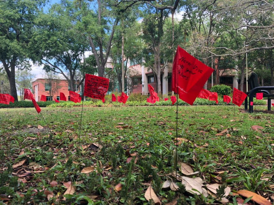 The red flag display featured a display on the library lawn which represented warning signs of abusive relationships.