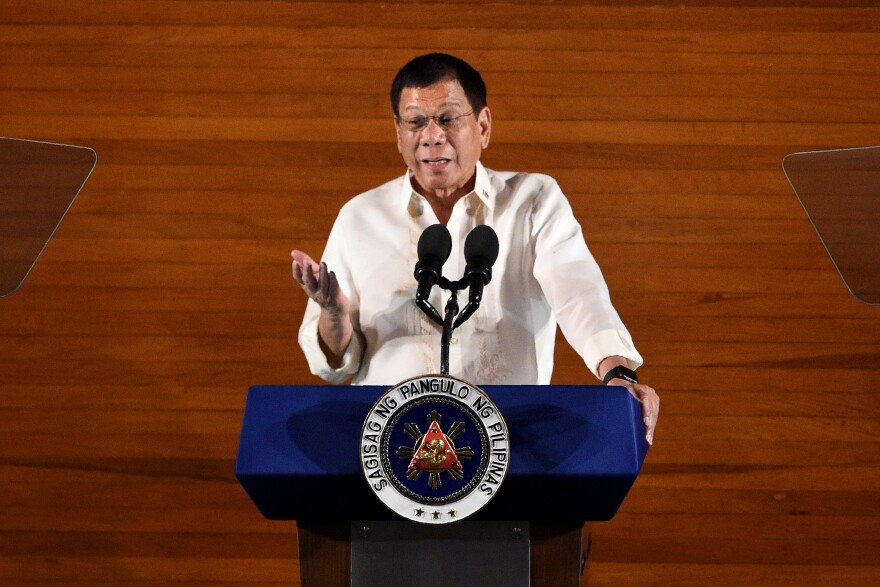 "Philippine President Rodrigo Duterte delivers his State of the Nation Address last month in Manila. Duterte has vowed to show ""no mercy"" in his war on crime, especially the drug trade."