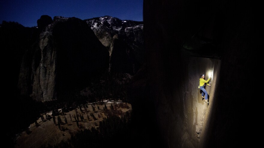 Tommy Caldwell says he prefers to climb at night when the rock is cooler, his hands sweat less and the friction is better. He and Kevin Jorgeson have been trying for seven years to scale the whole Dawn Wall in one shot.