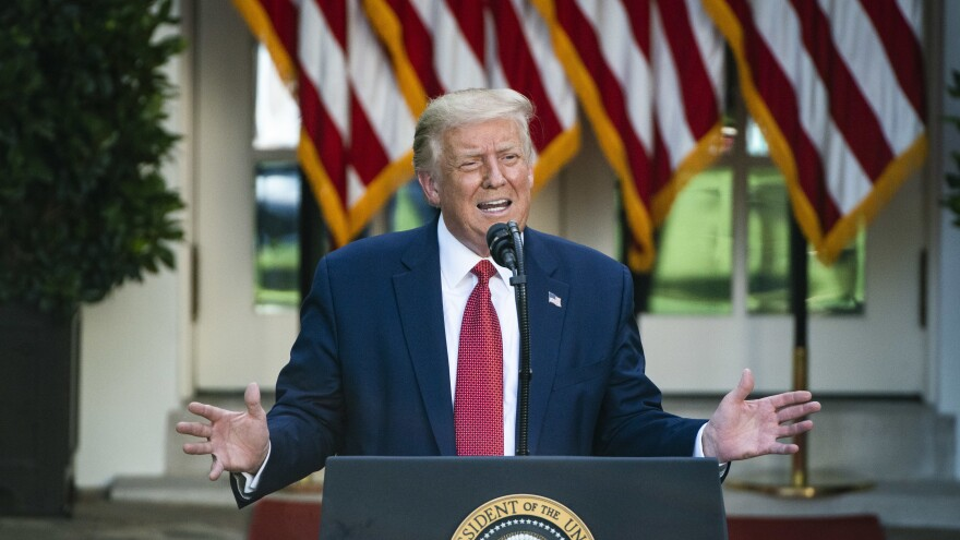 President Donald J. Trump speaks during a press conference in the Rose Garden at the White House on July 14.