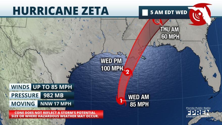 map of Hurricane Zeta track