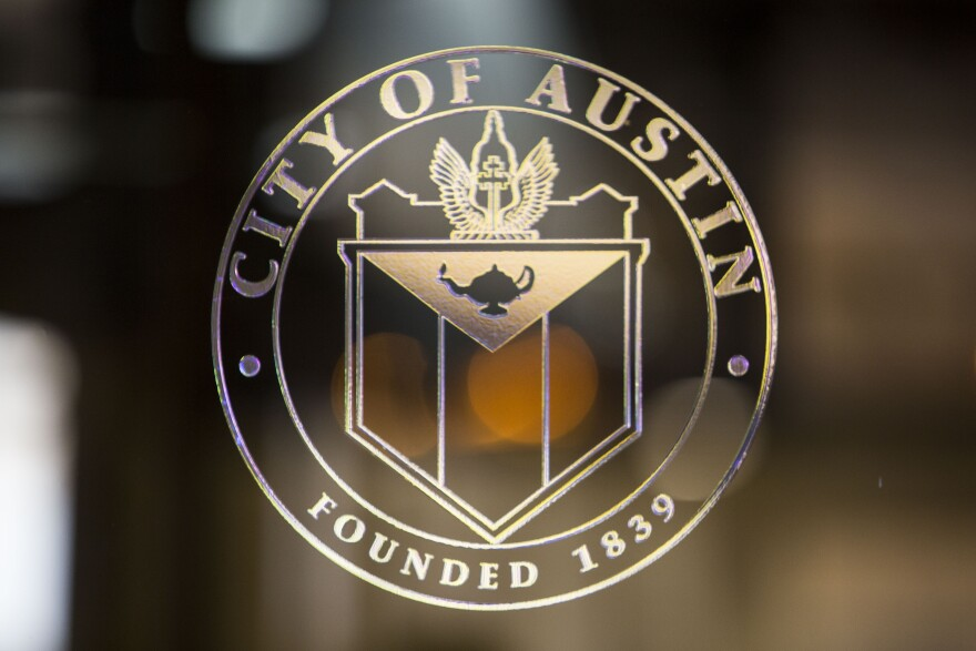 The City of Austin seal at City Hall.