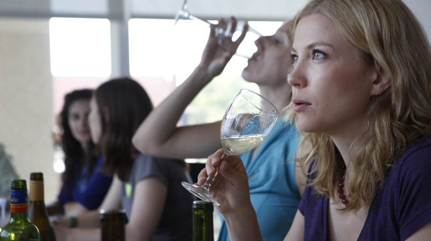 Our class of newbies learns how to pick up that buttery taste in a glass of chardonnay.
