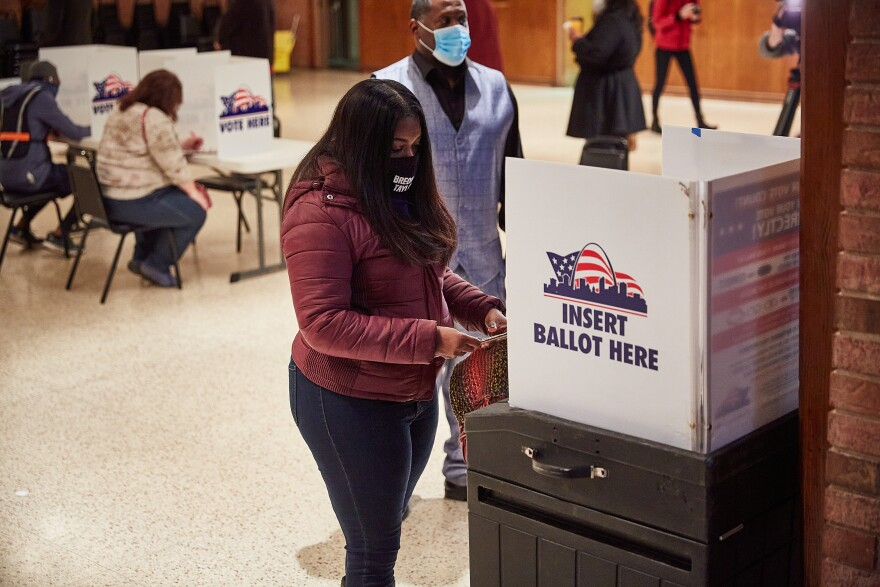 Democratic nominee for Missouri's 1st congressional district, Cori Bush, votes at Gambrinus Hall in South St. Louis on Election Day Tuesday, November 3, 2020.