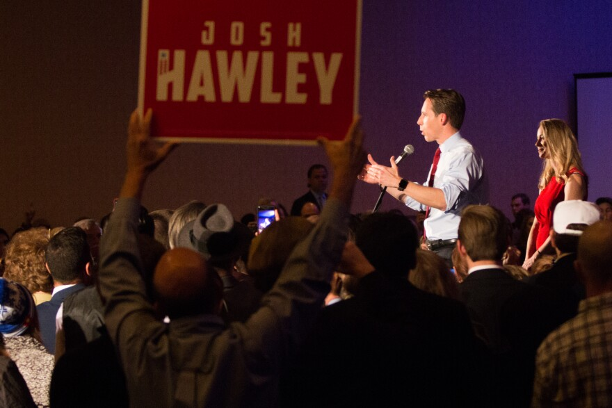 Sen.-elect Josh Hawley speaks to supporters in Springfield, Missouri, after securing the vote for U.S. senator. Nov.6, 2018