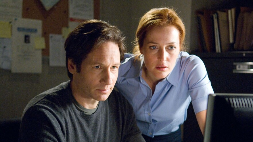 David Duchovny, left, and Gillian Anderson in the film <em>The X-Files: I Want to Believe</em>.