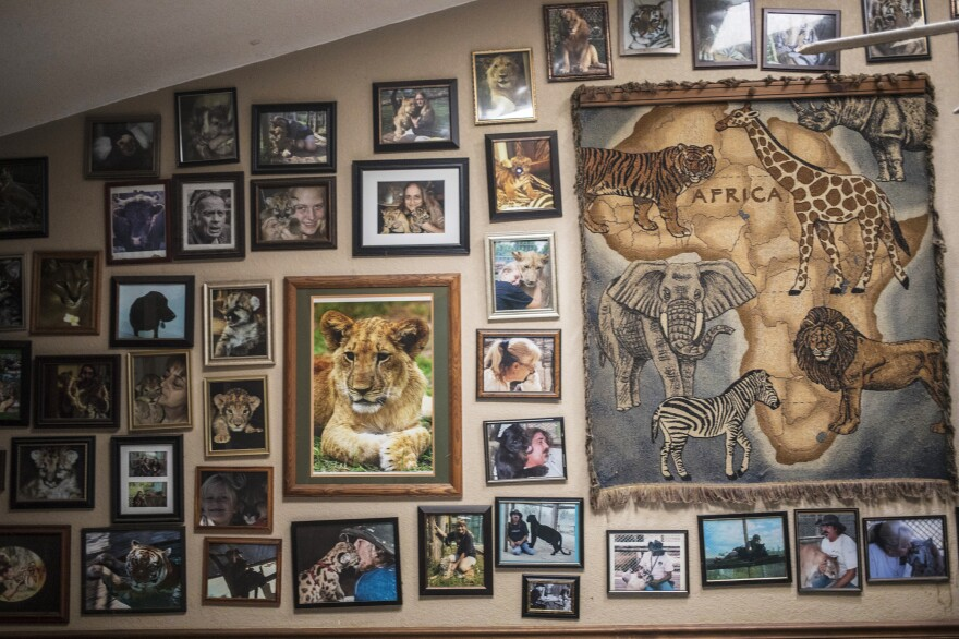 "A wall in John and Grace Slaby's home reflects their passion. ""If you're going to do this kind of thing ... you're not going to have a life outside of it,"" John says."