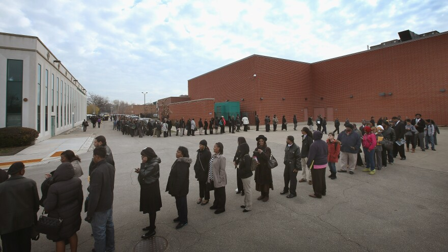 The line was long last week at a job fair in Chicago.