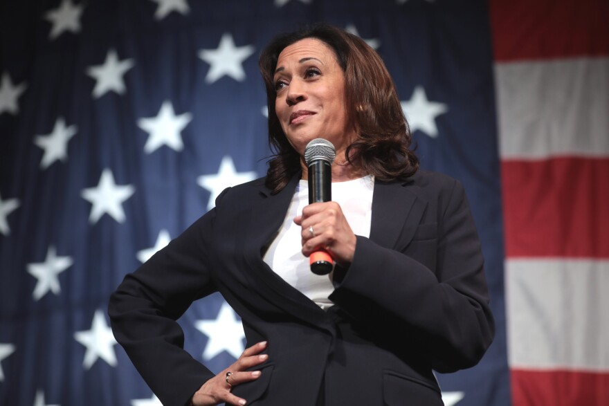 Senator Kamala Harris of California stands akimbo while holding a microphone up to her face in front of an American flag backdrop.