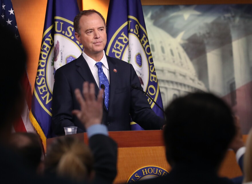 House Intelligence Chairman Rep. Adam Schiff of California speaks to the media last month. Schiff is leading the charge in the impeachment inquiry into President Trump.