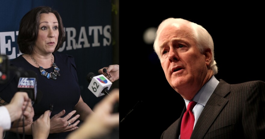 MJ Hegar and John Cornyn