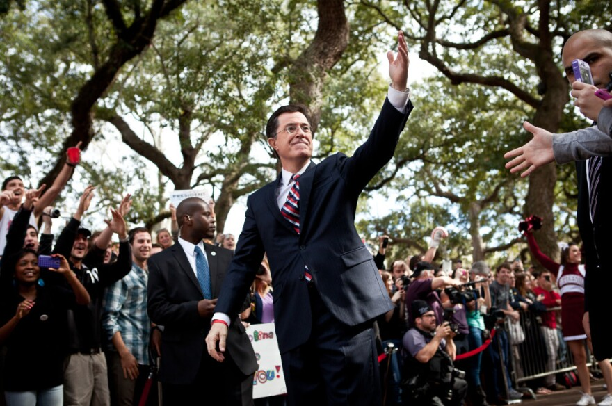 Comedian Stephen Colbert at a campaign stop in Charleston, South Carolina.
