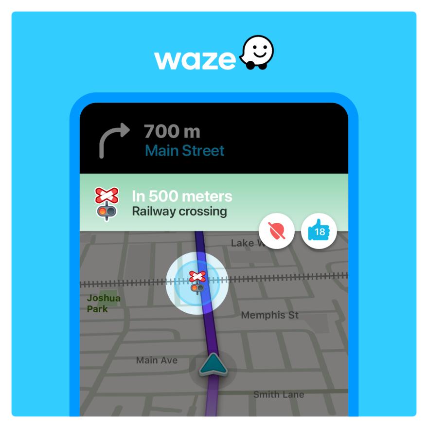 Screenshot of Waze's new railroad crossing alert feature