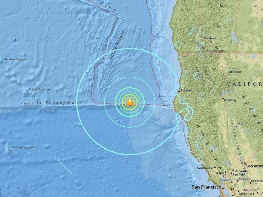 The epicenter of Thursday's earthquake was about 100 miles off the coast of Northern California.