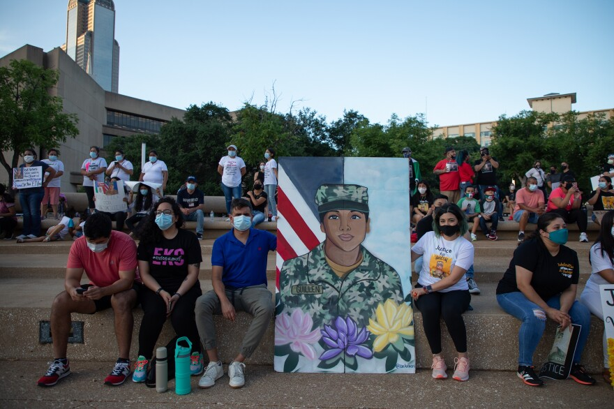 Roxana Lucio, a Dallas art teacher, created a canvas of Guillén for the Fourth of July. Lucio said there wasn't any representation of Guillén in her neighborhood, so she wanted to do this for her.