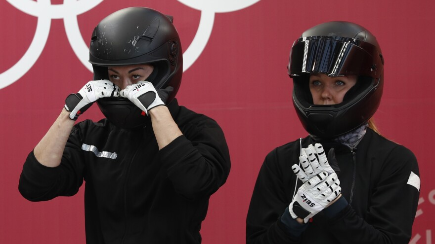 Bobsledder Nadezhda Sergeeva, right, is the second Russian athlete to fail a doping test at the Pyeongchang Winter Olympics. She's seen here with her teammate, Anastasia Kocherzhova.
