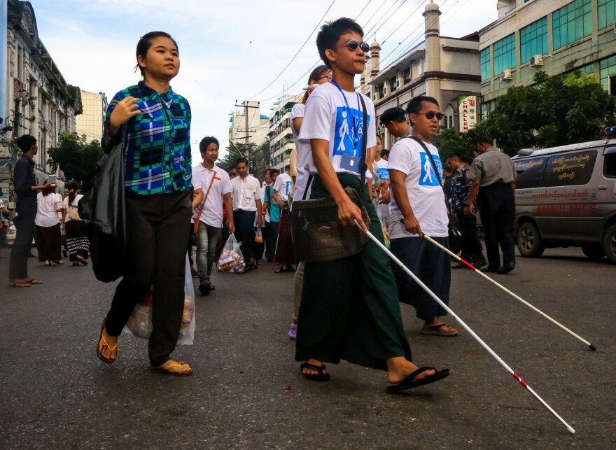 More than 1,000 people — those with visual impairment as well as theirs friends and supporters — took part in the 2017 White Cane Day walk in downtown Yangon.