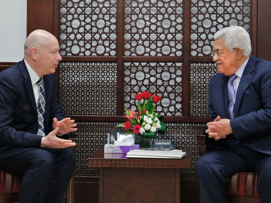Palestinian Authority President Mahmoud Abbas (right) meets with Jason Greenblatt in the West Bank city of Ramallah in 2017.