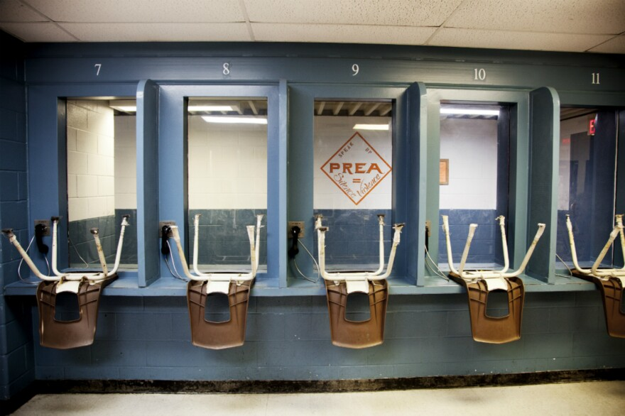 The visiting area of Buster Cole State Jail in Bonham.