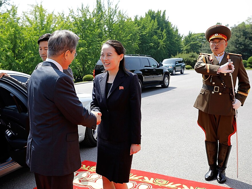 South Korean President Moon Jae-in (left) shakes hands with Kim Yo Jong upon his arrival for a meeting with North Korea's leader, Kim Jong Un, on May 26, 2018, in Panmunjom, North Korea.