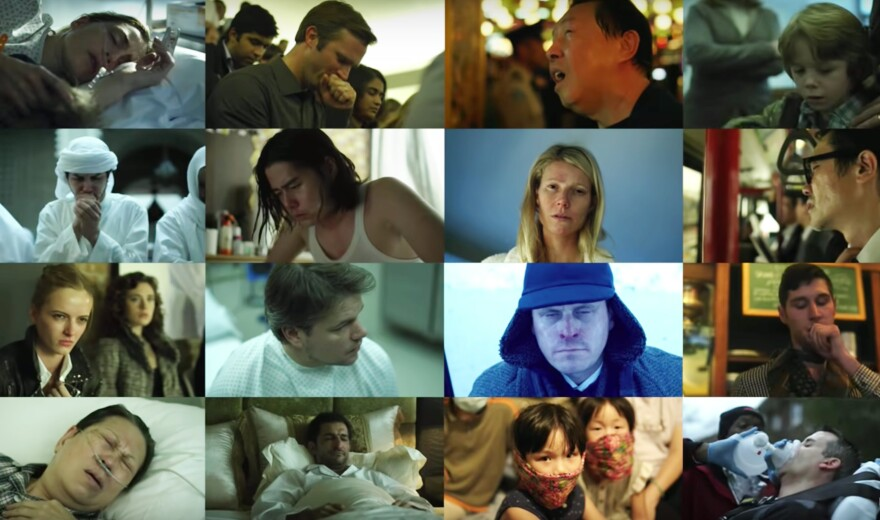 Scenes from the film <em>Contagion</em>.